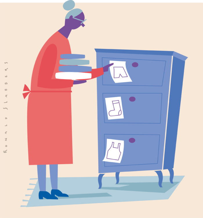 conceptual editorial illustration about Dementia / forgetfulness. a woman sticking notes to her drawers to remind where things are