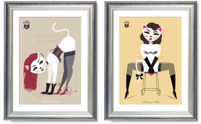 framed pin-up illustrations puss in boots