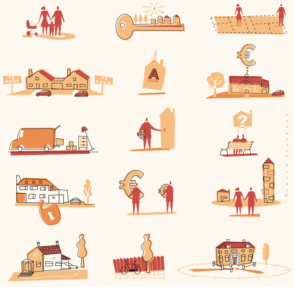 Website Illustration 'Housing', pictograms of houses, people, house moving, movers, family life, key to a new house, house for sale