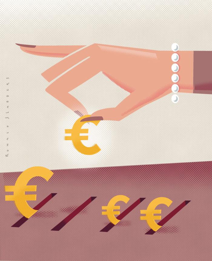 Illustratie geld sparen, geld opzij leggen. Een vrouwenhand verdeeld geld