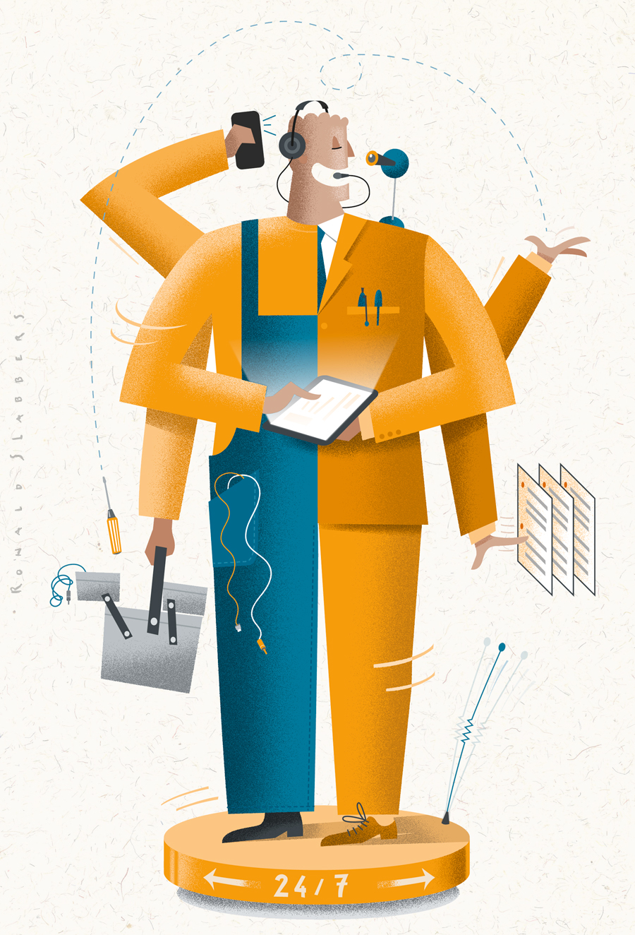Illustration for Ziggo tv cable provider magazine depicting 24-7 service, half business man, half mechanic, repairman