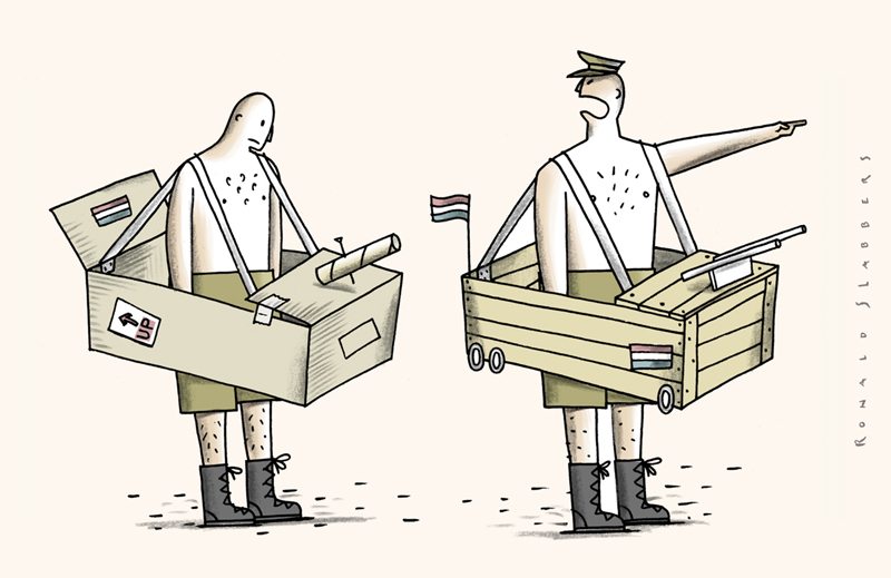 cartoon army without weapons, diamantled army, undressing the Army