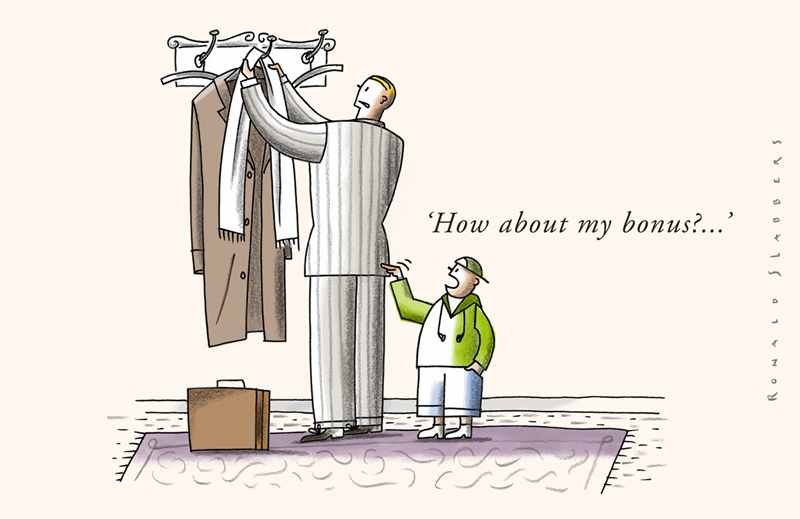 cartoon about banks and bonus culture, a banker at home