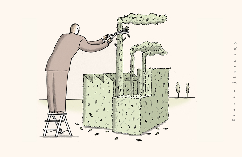 cartoon of green business, environment friendly business, 'green' is a fashion word, a green factory