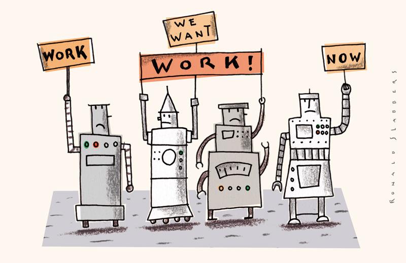 cartoon robots demanding work, robots, robotics, factory workers replaced by robots