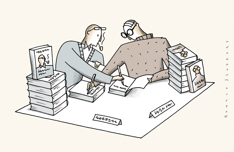 cartoon about writers and signing books