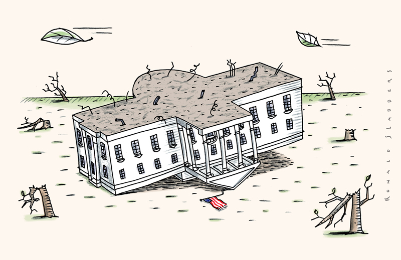 Cartoon of the white house. The white house upside down, political landslieden, US politics, republicans vs democrats, President Trump in the white house