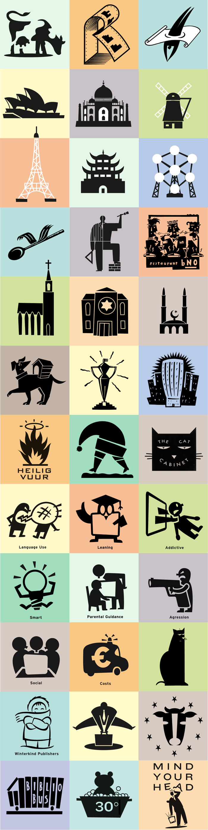 various illustrative pictograms, illustratieve pictogrammen