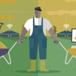 editorial illustration on modern livestock farming