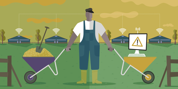 editorial illustration Technology in livestock farming