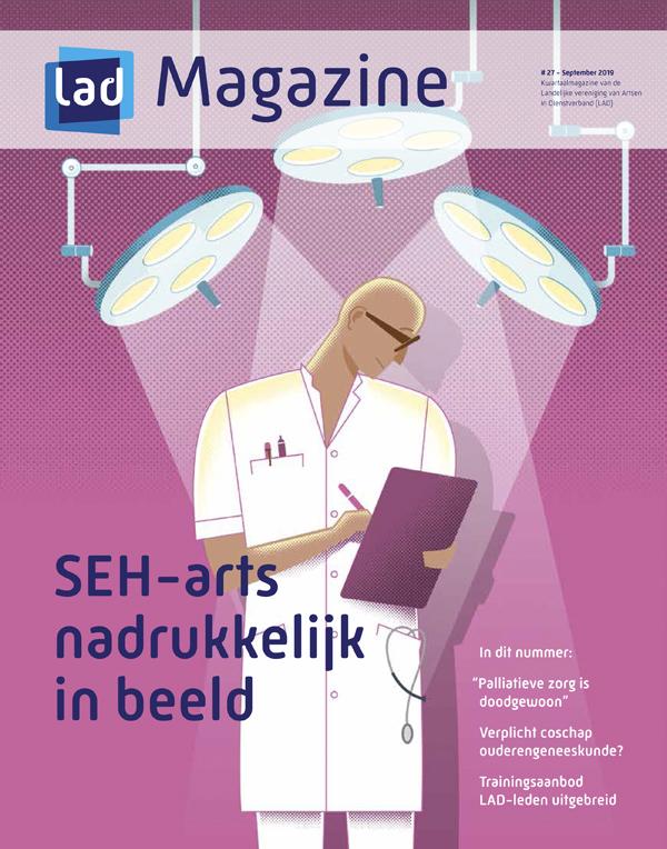 medical illustration of hospital doctor in spotlights