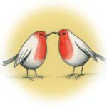 twee verliefde roodborstjes
