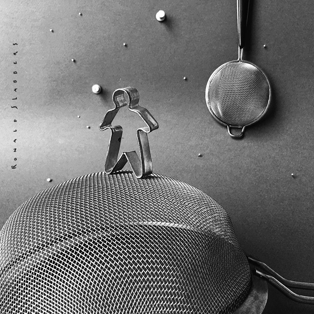 De eerste man op de maan, zwart wit foto uitdaging
